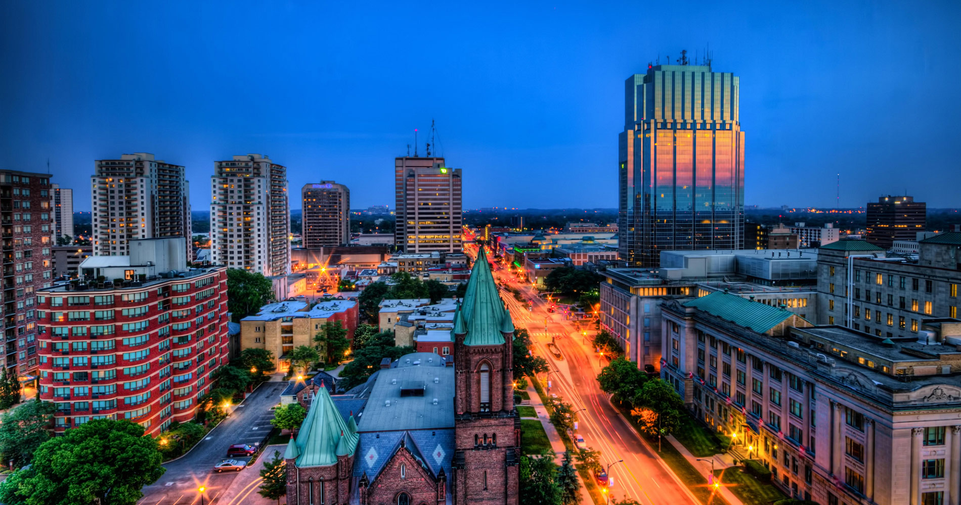 Downtown London Ontario Canada With St Peters Cathedral